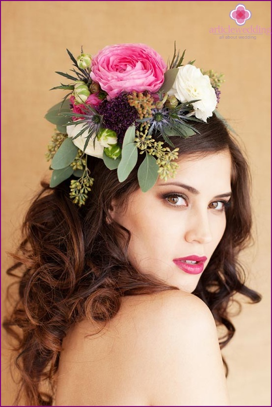 Crown of flowers for the bride