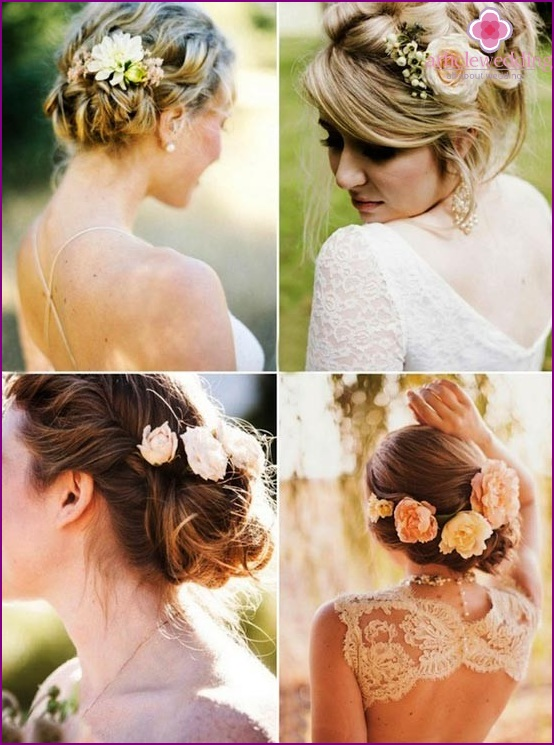 Flowers in wedding hairstyles