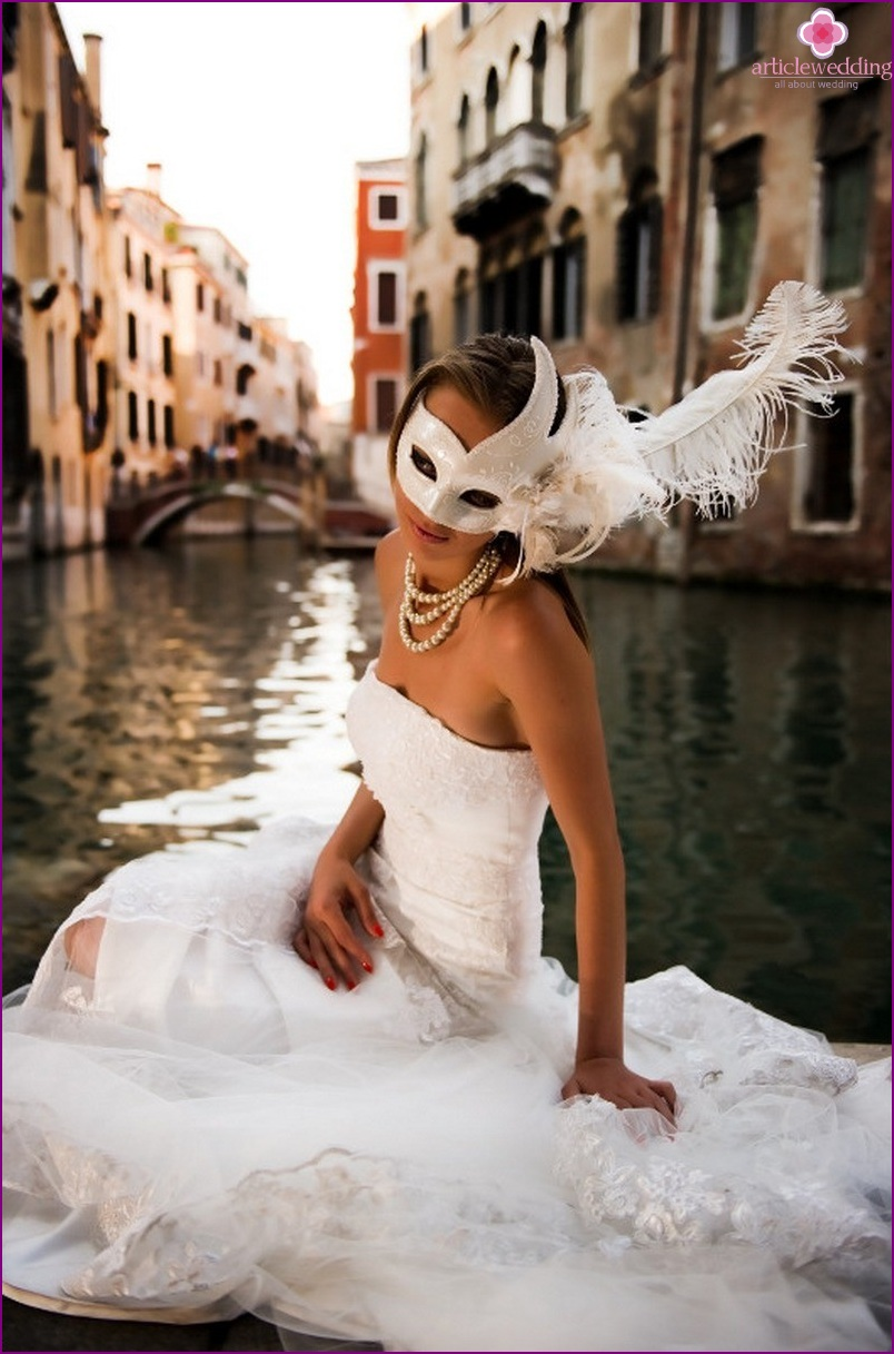 bride dress for a wedding in the style of masquerade