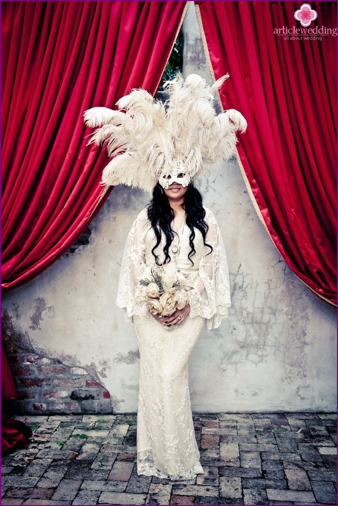 The image of the bride for the wedding in the style of masquerade
