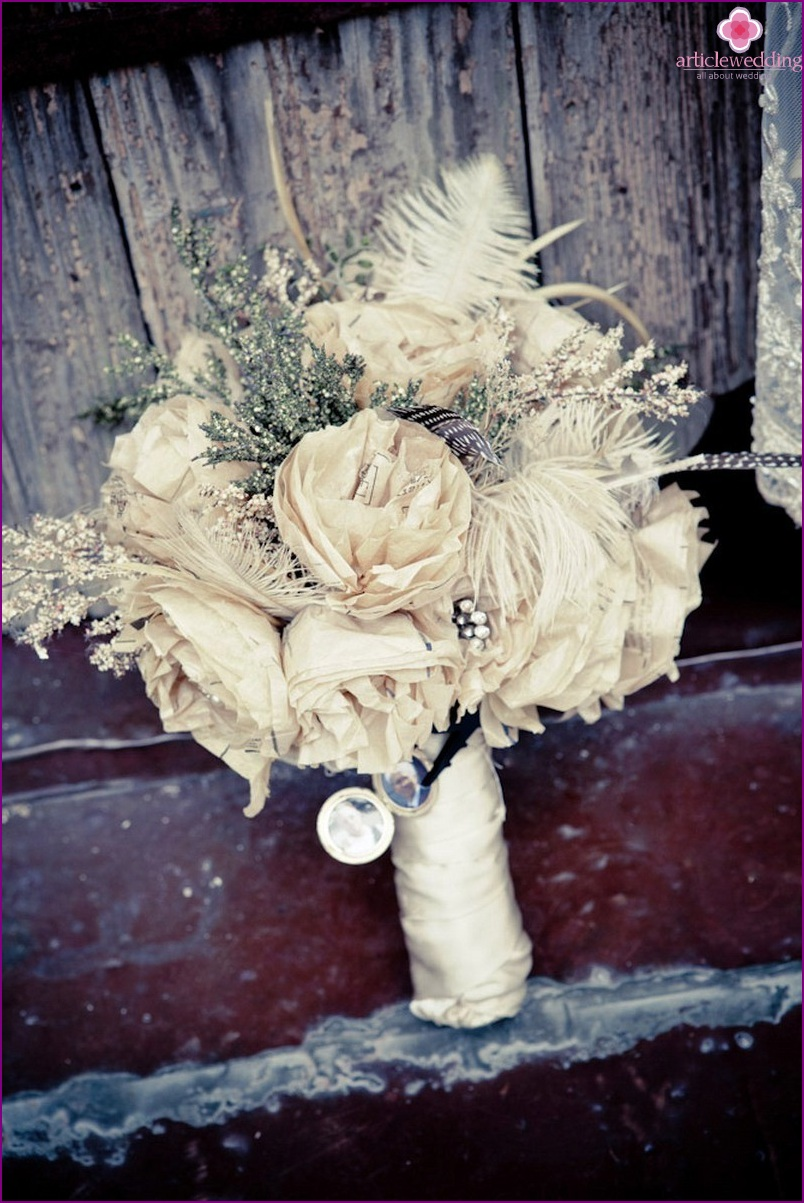 Bouquet of the bride for the wedding in the style of masquerade