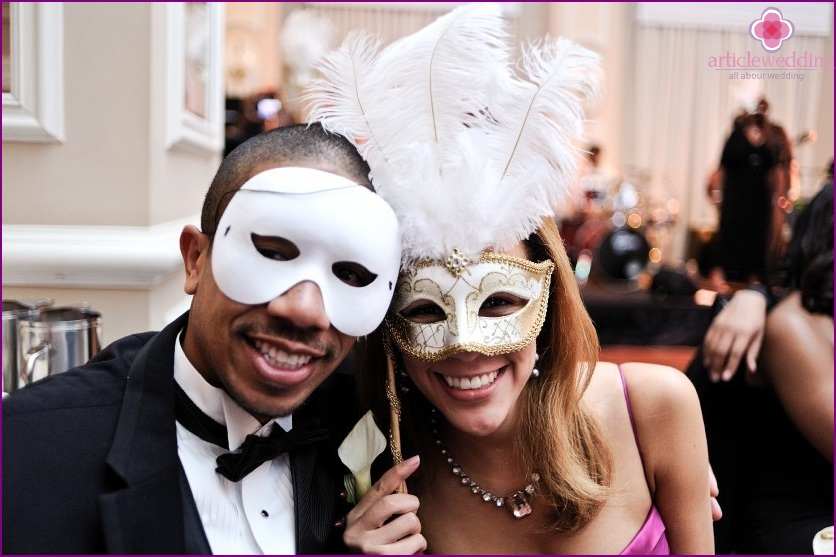 Guests at a wedding in the style of masquerade