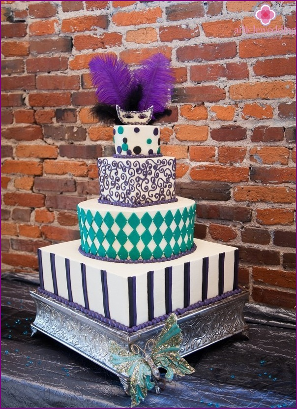 Cake for wedding in style masquerade