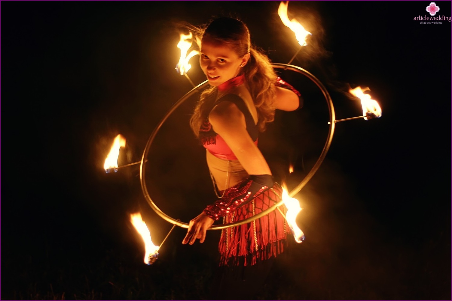 Fire show for a wedding in the style of masquerade