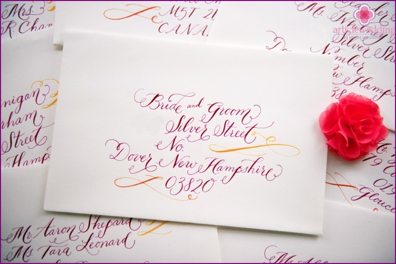 Invitations with calligraphic handwriting