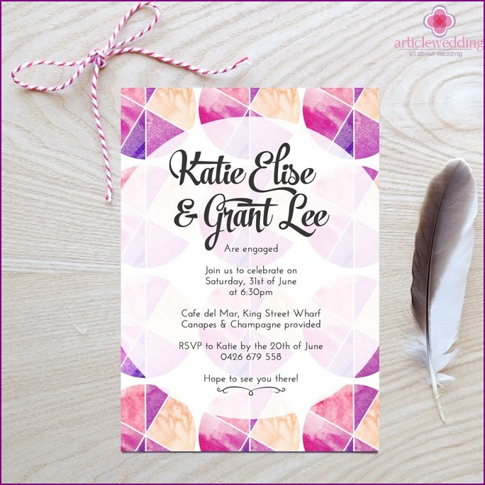 Invitations with geometric patterns