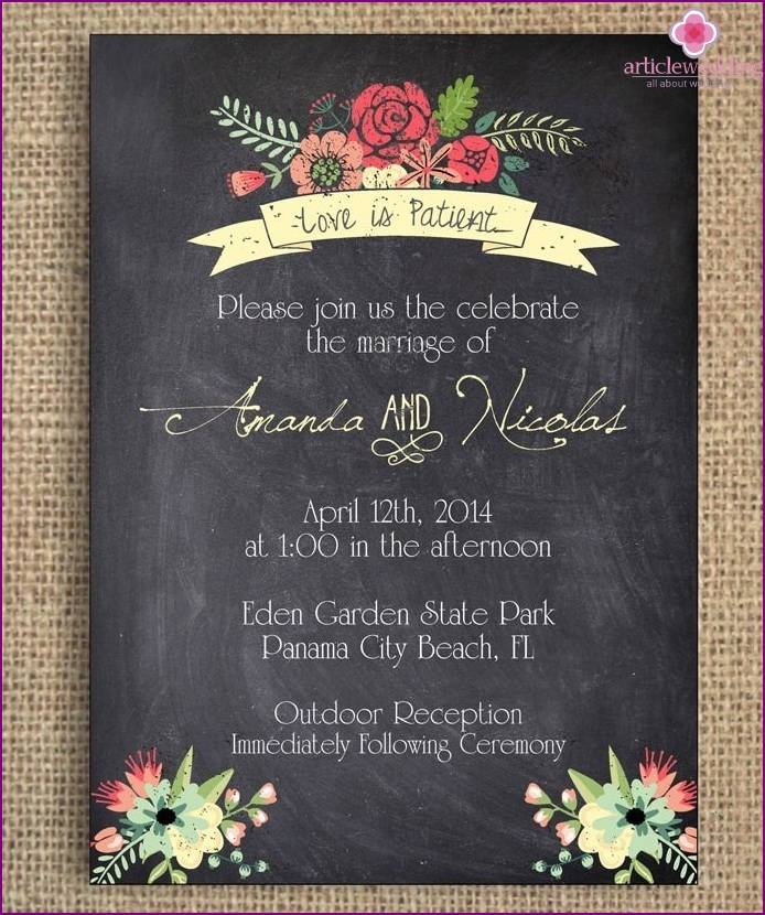 Invitations style chalk board