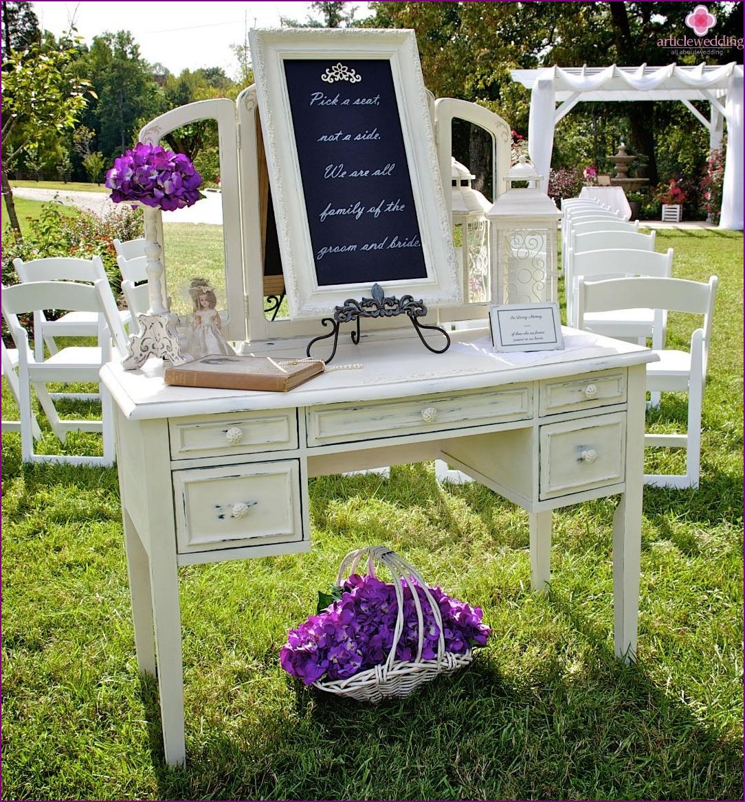 Welcome area bruiloft: gasten te ontmoeten