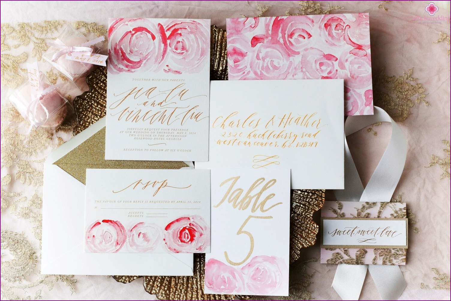 Watercolor accessories for the wedding
