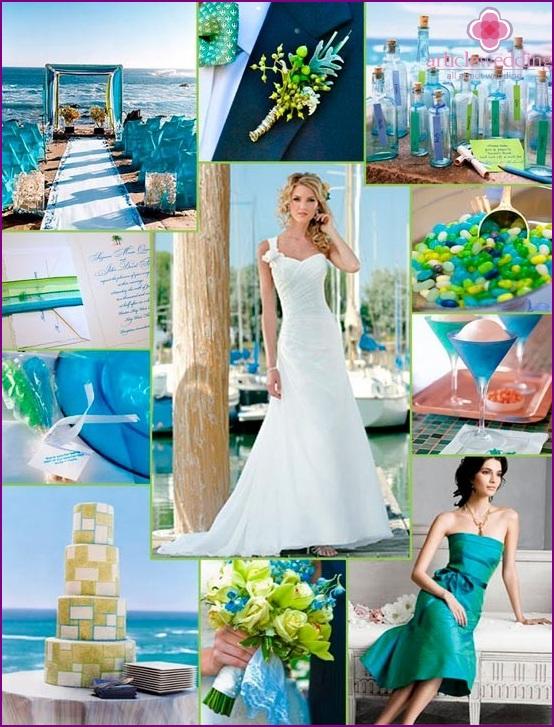 The decor in nautical style wedding