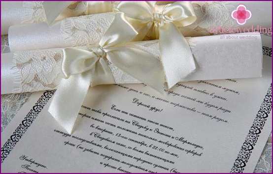 Wedding Invitations in the form of a scroll