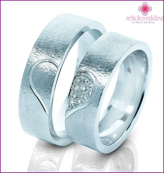 Wedding ring with a heart