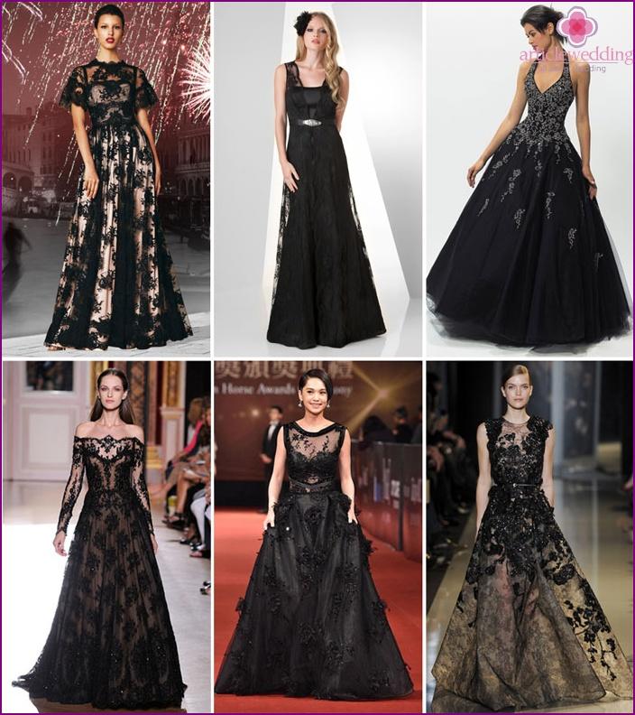 291b7aa499 Fekete esküvői ruha - a legnépszerűbb és stílusok 2015 fényképpel