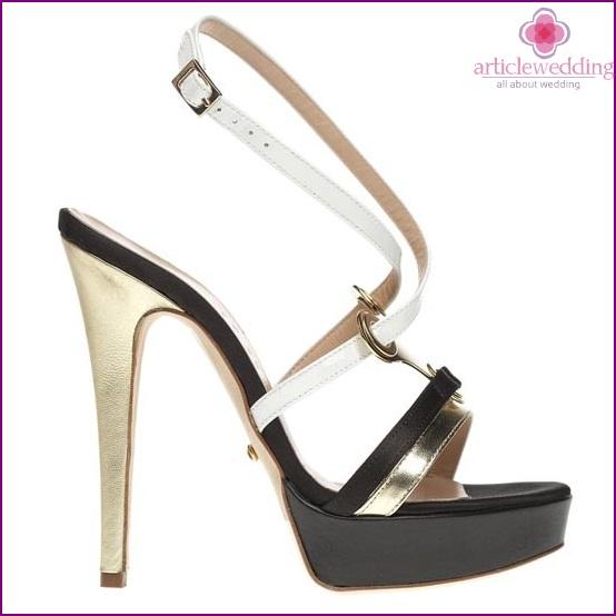 Black and white wedding sandals