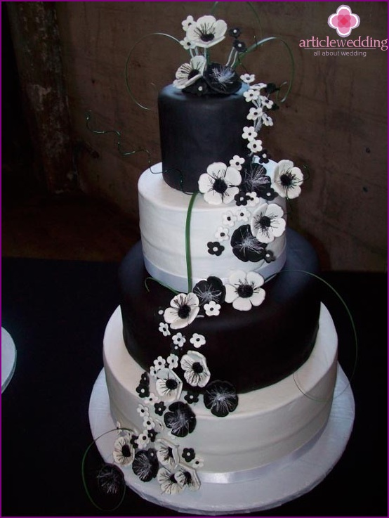 Wedding black and white cake