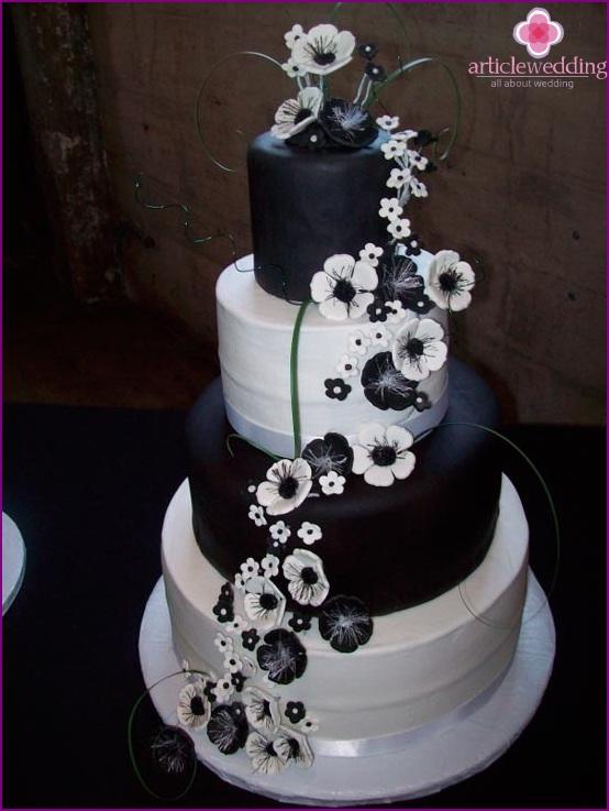 Wedding black and white cake