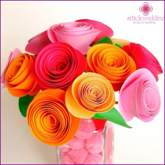 Bright bouquet of paper flowers