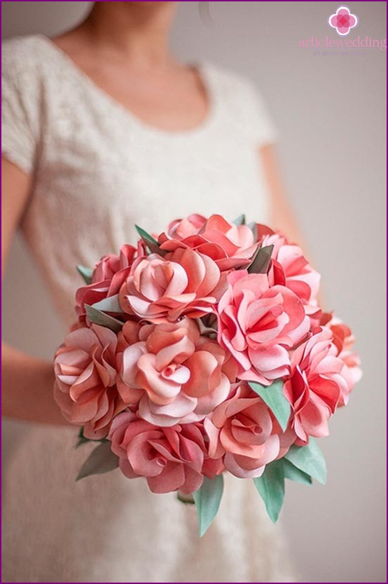 Bride bouquet of paper