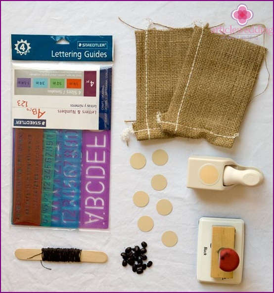 Materials for the manufacture of a canvas bag for coffee