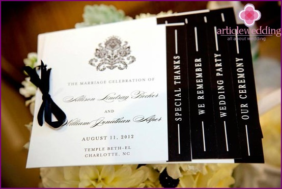 Wedding programs from their own hands