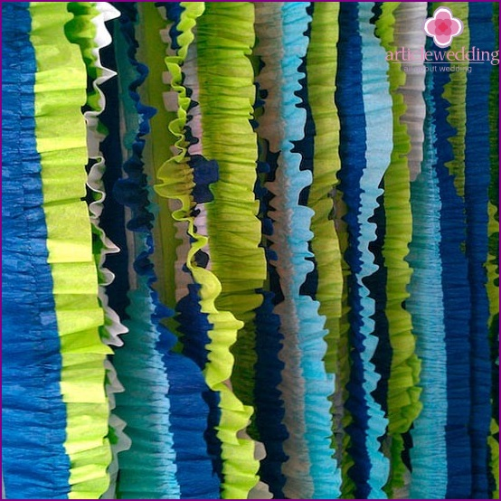 Multi-colored garlands of crepe paper