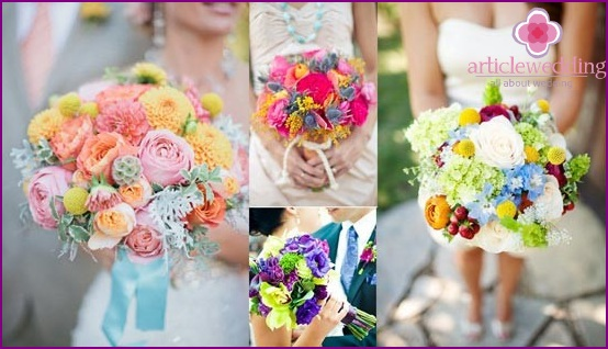 Bright bouquets bride