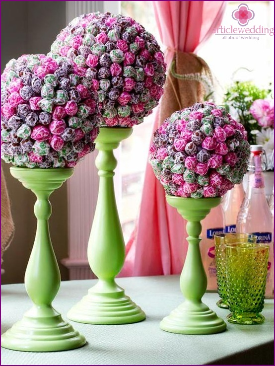 Sweet Topiary on supports from candles
