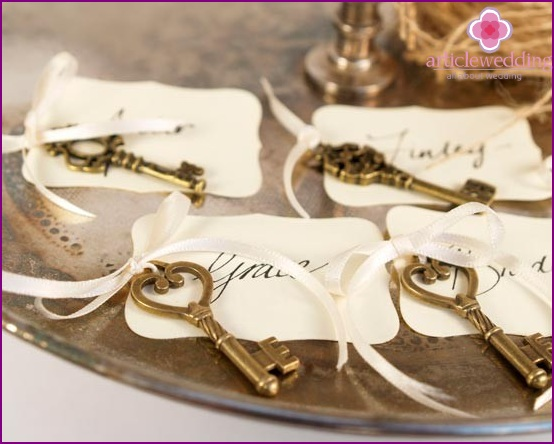 Tags in the design of banquet cards