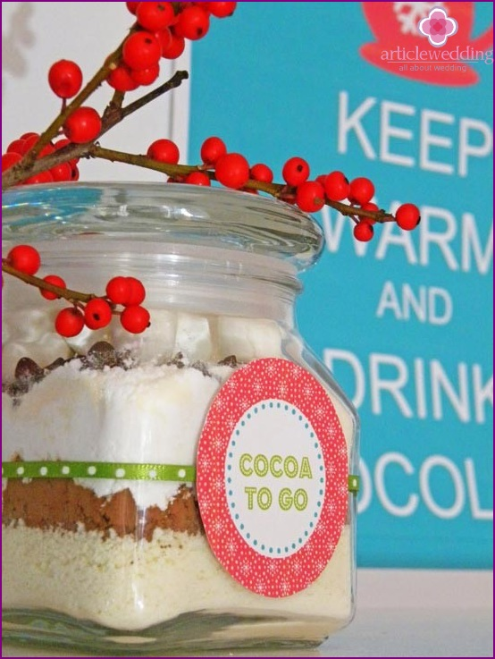 Delicious candy boxes with cocoa