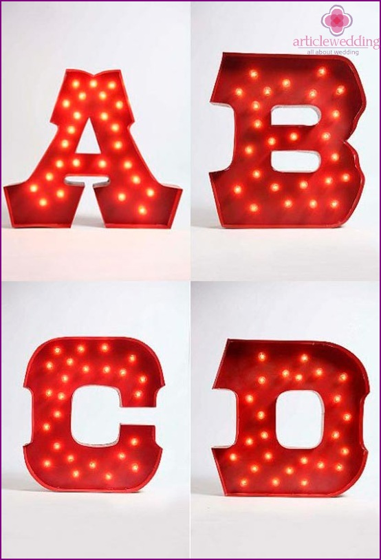 Letters for wedding decorations