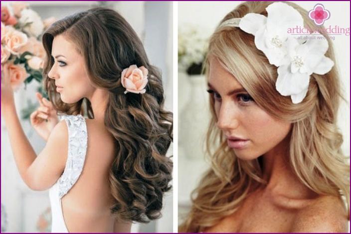 Свадебные прически распущенные короткие волосы5