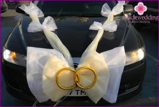 Свадебные украшения на машину бант своими руками