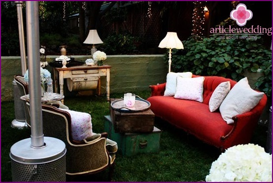 The cozy lounge at the wedding in nature