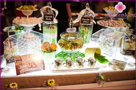 Candy bar in the bridal lounge