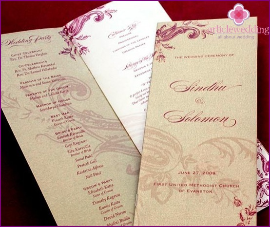 Stylish wedding program