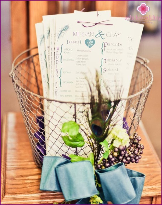 Program-leaflet for wedding