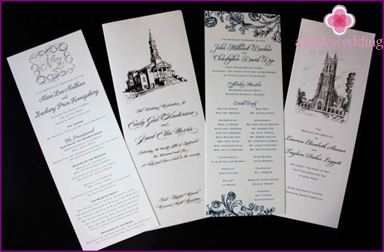 wedding program with inserts