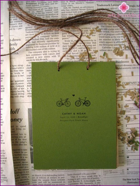 wedding program, decorated with thread