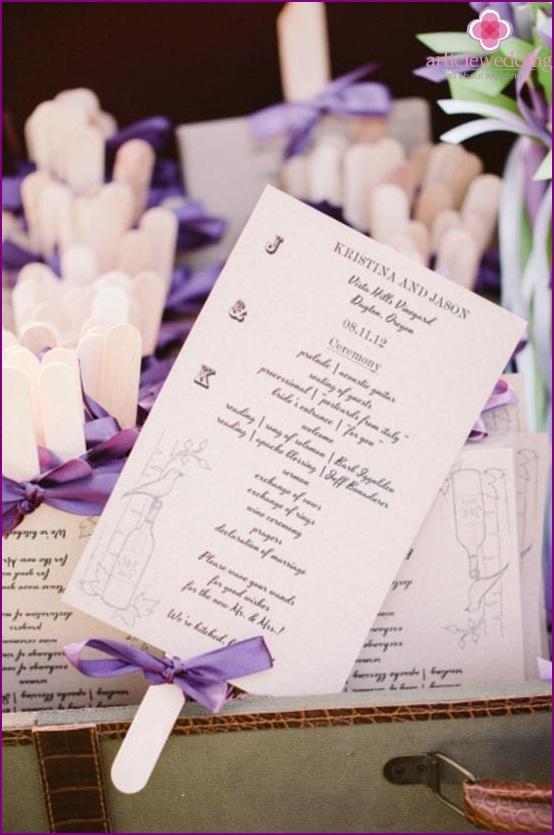 Romantic wedding program on a stick