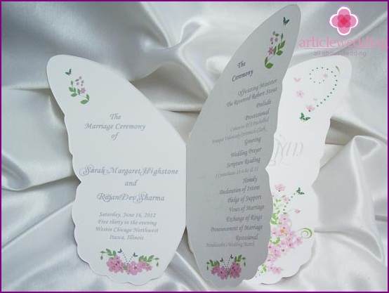 wedding program in the form of butterflies