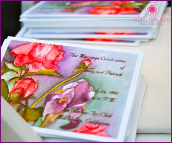 wedding program, decorated with watercolor paintings