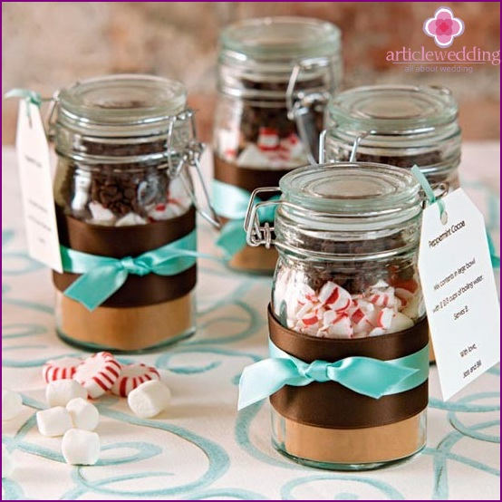 Sweet candy boxes in jars