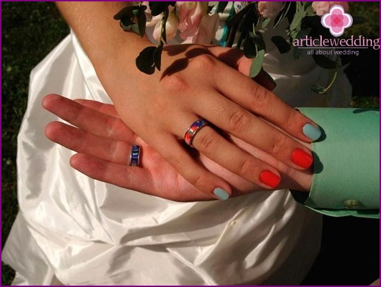 Multi-colored wedding rings
