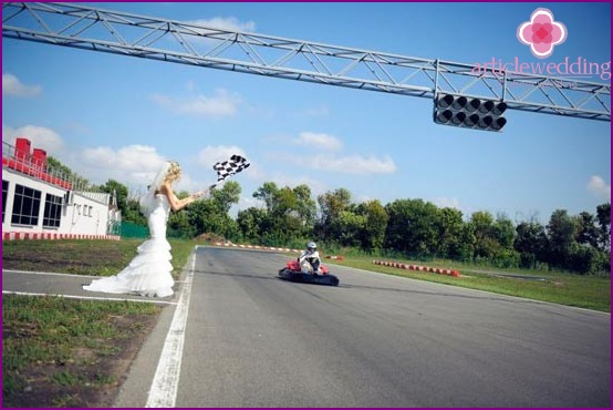Bride with checkered flag