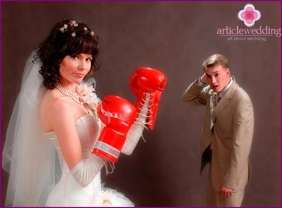 Bride with boxing gloves