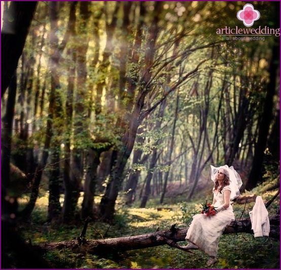 The bride in the forest