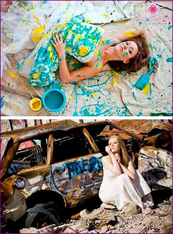 Photo shoot in the style of trash-the-dress