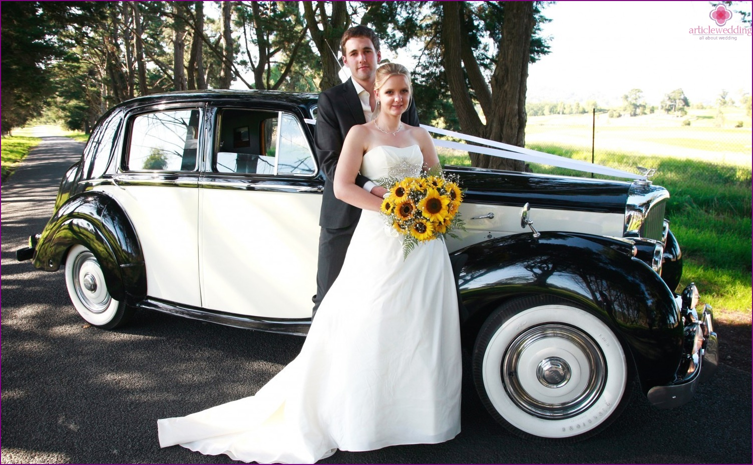 Black and white car for a wedding