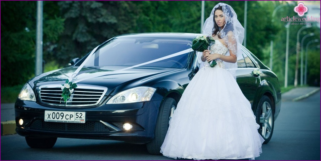 Black car for a wedding