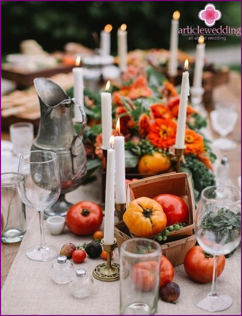 Vegetables in the wedding decor